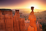 Sunrise behind Thors Hammer, Navajo Loop Trail, Bryce Canyon National Park, UTAH