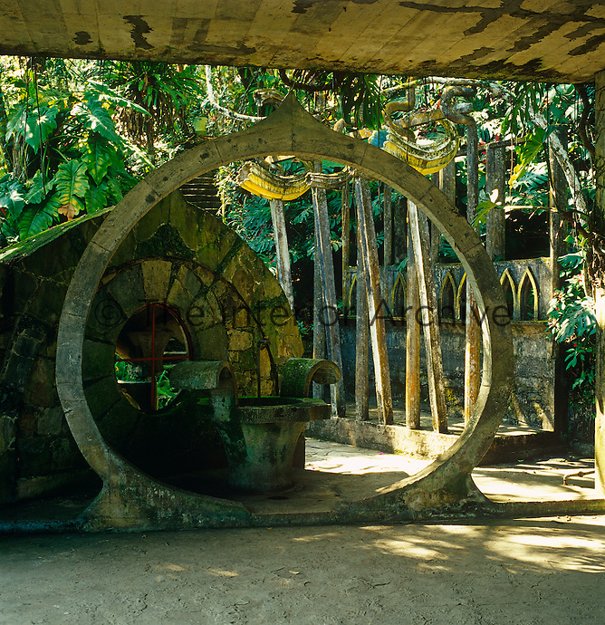 A circle in concrete forms part of an installation in Edward James' pleasure garden