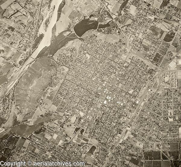 historical aerial photograph Riverside, California, 1948
