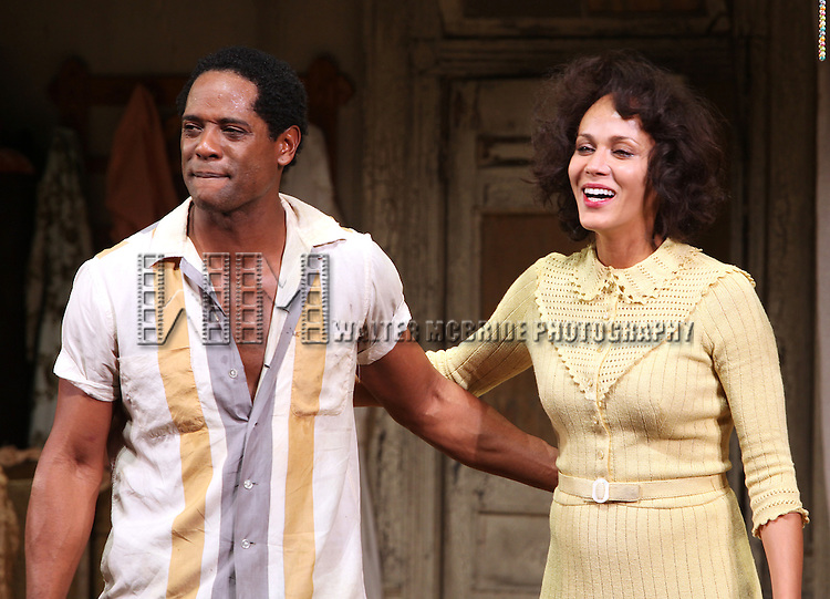 Blair Underwood & Nicole Ari Parker .during the Broadway Opening Night Curtain Call for 'A Streetcar Named Desire' on 4/22/2012 at the Broadhurst Theatre in New York City.