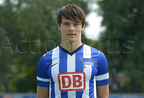 28.06.2013. Berlin, Germany.  Nico Schulz of German Bundesliga club Hertha BSC during the official photocall of season 2013-14  in 2013 in Berlin on the training ground in the Olympic Stadium.