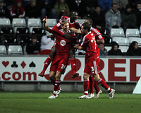 ATTENTION SPORTS PICTURE DESK<br /> Pictured: Jon Stead of Bristol (L) celebrating with team mates his opening goal.<br /> Re: npower Championship, Swansea City FC v Bristol City Football Club at the Liberty Stadium, south Wales. Wednesday 10 November 2010