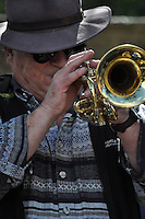 The Thameside Rhythm Kings on the terrace at the Boathouse, Bunkfest, 2014, Wallingford.