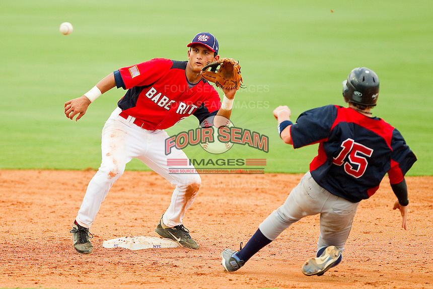 Tim Lopes #2 of Babe Ruth waits for a throw as Tate Matheny #15 of AABC tries to steal second base at the 2011 Tournament of Stars at the USA Baseball National Training Center on June 26, 2011 in Cary, North Carolina.  Babe Ruth defeated AABC 3-2 in the Gold Medal game. (Brian Westerholt/Four Seam Images)