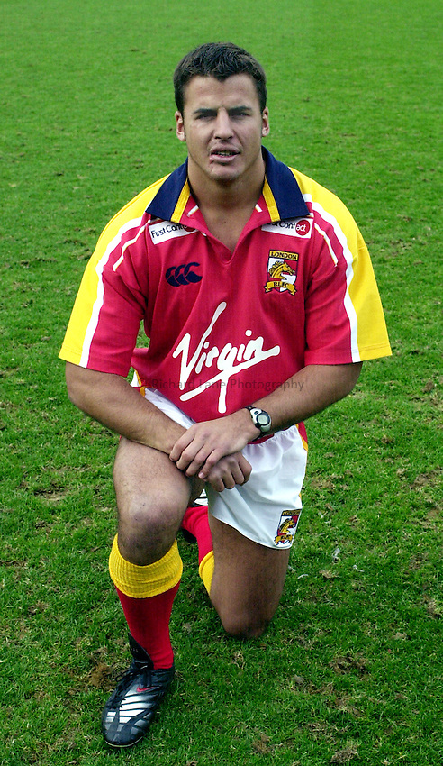 Picture : Greig Cowie.12/02/2002.Tetleys Bitter Super League.London Broncos Press Day. Griffin Park, Brentford..Tony Martin..
