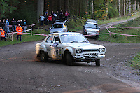 Dick Slaughter / Tim Slayer at Junction 6, on Special Stage 1 Craigvinean in the Colin McRae Forest Stages Rally 2012, Round 8 of the RAC MSA Scotish Rally Championship which was organised by Coltness Car Club and based in Aberfeldy on 5.10.12.