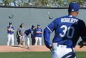Kenta Maeda, Dave Roberts, Rick Honeycutt (Dodgers),<br /> FEBRUARY 21, 2016 - MLB :<br /> Los Angeles Dodgers spring training baseball camp in Glendale, Arizona, United States. (Photo by AFLO)