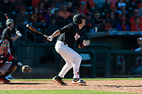 Oregon State Beavers pinch hitter Greg Fuchs (36) follows through on his swing during a game against the Gonzaga Bulldogs on February 16, 2019 at Surprise Stadium in Surprise, Arizona. Oregon State defeated Gonzaga 9-3. (Zachary Lucy/Four Seam Images)