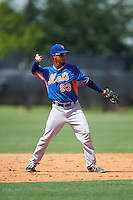 GCL Mets second baseman Miguel Patino (93) throws to first during the first game of a doubleheader against the GCL Astros on August 5, 2016 at Osceola County Stadium Complex in Kissimmee, Florida.  GCL Astros defeated the GCL Mets 4-1 in the continuation of a game started on July 21st and postponed due to inclement weather.  (Mike Janes/Four Seam Images)