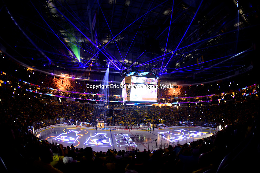 May 31, 2017:Fans are entertained with a light show before  game two of the National Hockey League Stanley Cup Finals between the Nashville Predators  and the Pittsburgh Penguins, held at PPG Paints Arena, in Pittsburgh, PA. The Penguins defeat the Predators 4-1 and lead the series 2-0. Eric Canha/CSM