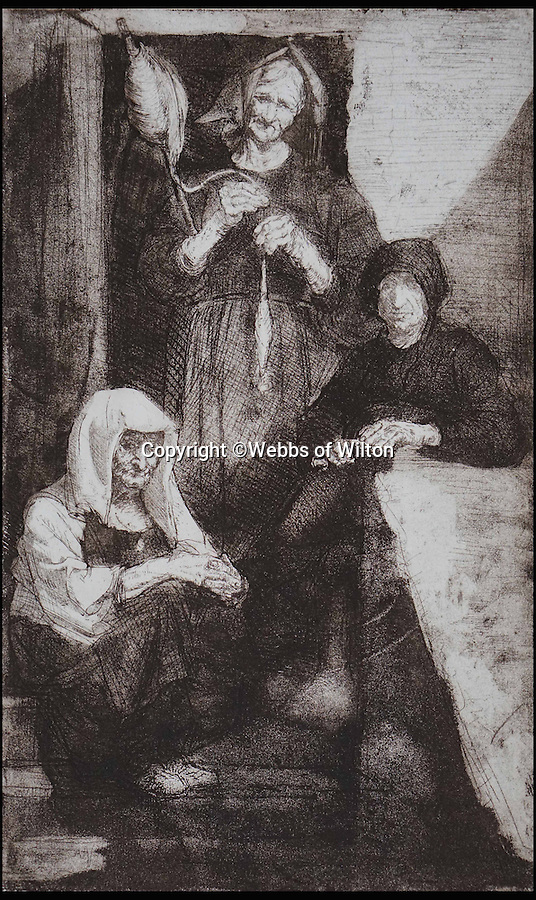 BNPS.co.uk (01202 558833)<br /> Pic: WebbsOfWilton/BNPS<br /> <br /> Etching of three women.<br /> <br /> Drawings and paintings by one of the world's most colourful and notorious art forgers, including a sketch that duped a top auctionhouse, are up for sale.<br /> <br /> Master forger Eric Hebborn fooled art dealers, galleries and auction houses worldwide with his work in the style of old masters, and many of his works which were sold as originals still hang in museums and galleries.<br /> <br /> Hugely talented Hebborn could mimic the style's of many of the world's most famous artist's, and the auction contains works 'After' Michelangelo, Rembrandt, Claude, Augustus John and Bandinelli.<br /> <br /> His paintings are being auctioned by Webbs of Wilton in Wiltshire on Wednesday, as well as manuscripts and books on the art of forging.