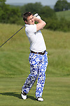 ISPS Handa Wales Open 2012.Scottish rugby player Rory Lawson winning the prize for best trousers as he tees off on the 1st hole in the Pro-Am tournament...30.05.12.©Steve Pope