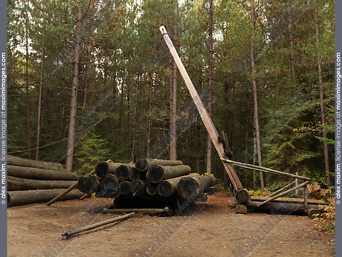 Jammer - wooden crane for lifting logs onto a log sleigh. Logging history museum in Algonquin Provincial Park, Ontario, Canada.