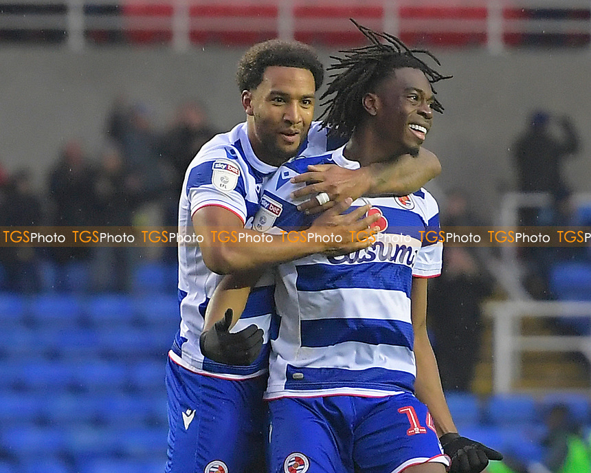 Ovie Ejaria of Reading (14) celebrates scoring the second goal with Liam Moore of Reading during Reading vs Luton Town, Sky Bet EFL Championship Football at the Madejski Stadium on 9th November 2019