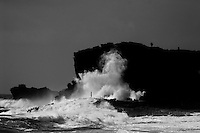 A dramatic image of Halona Blowhole in winter time on east O'ahu