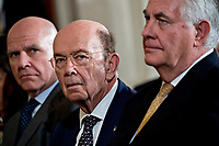 Rex Tillerson, U.S. secretary of State, from right, Wilbur Ross, U.S. commerce secretary, and H.R. McMaster, national security advisor, listen during a news conference with U.S. President Donald Trump and Stefan Lofven, Sweden's prime minister, not pictured, in the East Room of the White House in Washington, D.C., U.S., on Tuesday, March 6, 2018. Trump and Lofven are looking to focus on trade and investment between the two countries and ways to achieve shared defense goals.<br /> CAP/MPI/RS<br /> &copy;RS/MPI/Capital Pictures
