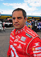 Nov. 13, 2009; Avondale, AZ, USA; NASCAR Sprint Cup Series driver Juan Pablo Montoya during practice for the Checker O'Reilly Auto Parts 500 at Phoenix International Raceway. Mandatory Credit: Mark J. Rebilas-