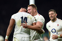 Joe Cokanasiga of England celebrates his second half try with team-mate Sam Underhill. Quilter International match between England and Australia on November 24, 2018 at Twickenham Stadium in London, England. Photo by: Patrick Khachfe / Onside Images