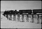 D&amp;RGW #475 K-28 with RPO &amp; coach crossing trestle.<br /> D&amp;RGW