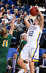 BROOKINGS, SD - FEBRUARY 6:  Macy Miller #12 from South Dakota State spots up for a jumper over Taylor Thunstedt #11 from North Dakota State Saturday afternoon at Frost Arena in Brookings. (Photo by Dave Eggen/Inertia)