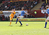 Jamie Murphy shoots past Frazer Wright to score in the Motherwell v St Johnstone Clydesdale Bank Scottish Premier League match played at Fir Park, Motherwell on 28.4.12.