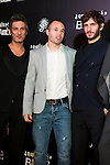 Actor Ernesto Alterio, FC Barcelona's football player Andres Iniesta and actor Quim Gutierrez (left ro right) attend the premiere photocall of the movie '¿Quien mato a Bambi?' at Cine Comedia on November 7, 2013 in Barcelona, Spain. (ALTERPHOTOS/Alex Caparros)