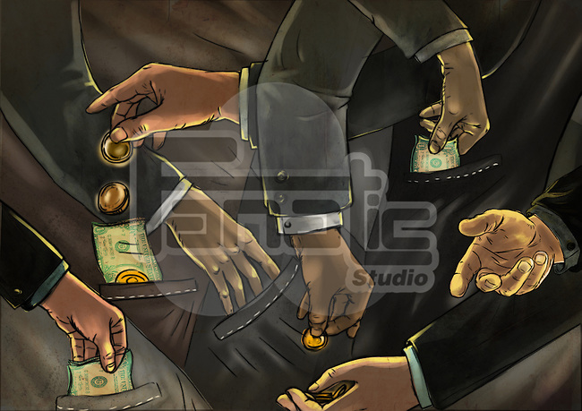 Illustrative image of business people exchange of money