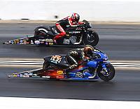 Jul 10, 2016; Joliet, IL, USA; NHRA pro stock motorcycle rider Michael Ray (near) races alongside Matt Smith during the Route 66 Nationals at Route 66 Raceway. Mandatory Credit: Mark J. Rebilas-USA TODAY Sports
