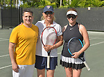 WESTON, FL - DECEMBER 08: Tony Signore ,Martina Navratilova, former Czechoslovak and American professional tennis player and coach and Elizabeth Signore playing at Midtown Athletic Club Weston on December 08, 2018 in Weston, Florida. ( Photo by Johnny Louis / jlnphotography.com )