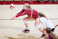 STANFORD, CA - November 3, 2018: Kathryn Plummer, Morgan Hentz, Meghan McClure at Maples Pavilion. No. 1 Stanford Cardinal defeated No. 15 Colorado Buffaloes 3-2.