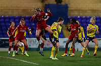 13th February 2020; Deva Stadium, Chester, Cheshire, England; Womens Super League Football, Liverpool Womens versus Arsenal Womens;  Sophie Bradley-Auckland (C) of Liverpool Women wins the header in the box