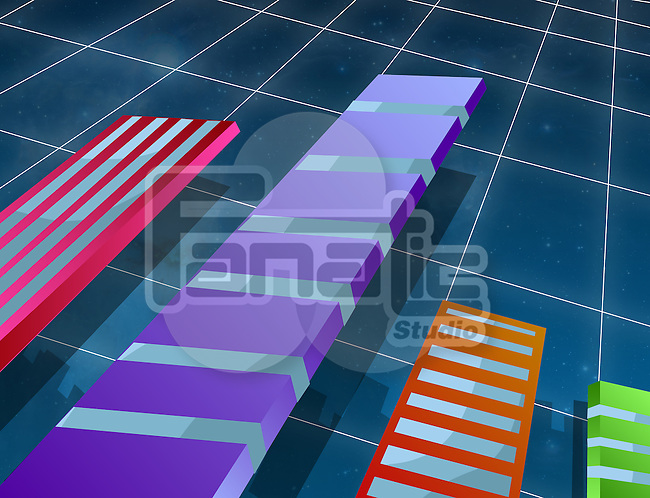 Multicolored bar graph representing business growth