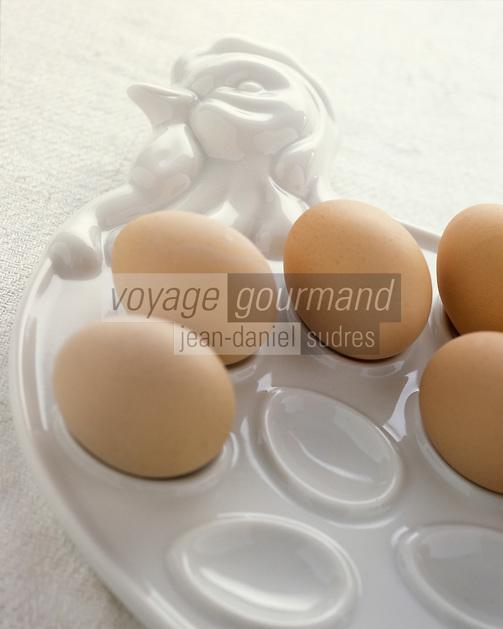 Gastronomie générale / Cuisine générale :  Oeufs durs sur un plat en forme de poule