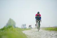Filippo  Pozzato (ITA/Lampre-Merida) in sector 5: Pavé de la Justice / Pavé de Camphin-en-Pévèle<br /> <br /> 2014 Paris-Roubaix reconnaissance