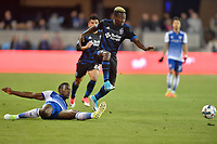 San Jose, CA - Friday April 14, 2017: Cordell Cato  during a Major League Soccer (MLS) match between the San Jose Earthquakes and FC Dallas at Avaya Stadium.
