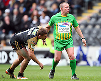 PICTURE BY VAUGHN RIDLEY/SWPIX.COM - Rugby League - Super League - Hull FC v Wigan Warriors - KC Stadium, Hull, England - 22/04/12 - Wigan's Michael McIlorum and Referee Steve Ganson.