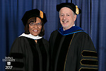 Commencement speaker and honorary degree recipient Sharon Draper, a distinguished teacher and celebrated novelist, and Paul Zionts, dean of the College of Education. DePaul University College of Education held its commencement ceremony, Saturday, June 10, 2017, at the Rosemont Theatre in Rosemont, IL. The Rev. Dennis H. Holtschneider, C.M., president of DePaul, conferred the degrees. (DePaul University/Jeff Carrion)