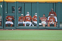 The Texas Longhorns looks on during Game 1 of the 2014 Men's College World Series between the UC Irvine Anteaters and Texas Longhorns at TD Ameritrade Park on June 14, 2014 in Omaha, Nebraska. (Brace Hemmelgarn/Four Seam Images)