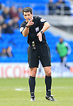 Refree Andrew Madley in action during the Sky Bet Championship League match at The Cardiff City Stadium.  Photo credit should read: David Klein/Sportimage