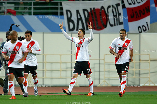 Lucas Alario (River Plate), DECEMBER 16, 2015 - Football / Soccer : Lucas Alario of River Plate celebrates with team mates after scoring his team's first goal during the 2015 FIFA Club World Cup semi-final match between Sanfrecce Hiroshima and River Plate at Nagai Stadium Osaka in Osaka, Japan (Photo by AFLO)