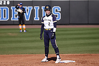 DURHAM, NC - FEBRUARY 29: Sarah Genz #2 of the University of Notre Dame reacts at second base after hitting an RBI double during a game between Notre Dame and Duke at Duke Softball Stadium on February 29, 2020 in Durham, North Carolina.