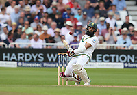 South Africa's Hashim Amla evades a bouncer from England's Mark Wood<br /> <br /> Photographer Stephen White/CameraSport<br /> <br /> Investec Test Series 2017 - Second Test - England v South Africa - Day 3 - Sunday 16th July 2017 - Trent Bridge - Nottingham<br /> <br /> World Copyright &copy; 2017 CameraSport. All rights reserved. 43 Linden Ave. Countesthorpe. Leicester. England. LE8 5PG - Tel: +44 (0) 116 277 4147 - admin@camerasport.com - www.camerasport.com