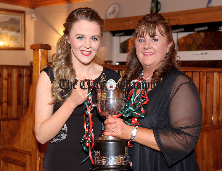 Chloe Moloney and her mother Martina Moloney, secretary KIB Ladies Football Club, at the Kilmurry Ibrickane Ladies Football Victory Dinner Dance in The Quilty Tavern. Photograph by John Kelly.