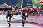 Vincenzo Nibali (ITA) Bahrain-Merida outsprints Mikel Landa (ESP) Team Sky to win Stage 16 of the 100th edition of the Giro d'Italia 2017, running 222km from Rovetta to Bormio, Italy. 23rd May 2017.<br /> Picture: LaPresse/Gian Mattia D'Alberto | Cyclefile<br /> <br /> <br /> All photos usage must carry mandatory copyright credit (&copy; Cyclefile | LaPresse/Gian Mattia D'Alberto)