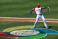 15 March 2009: #24 Frederich Cepeda of Cuba warms up prior to the 2009 World Baseball Classic Pool 1 game 1 at Petco Park in San Diego, California, USA. Japan wins 6-0 over Cuba.