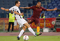 Calcio, Europa League: Roma vs Astra Giurgiu. Roma, stadio Olimpico, 29 settembre 2016.<br /> Roma&rsquo;s Juan Jesus, right, is challenged by Astra Giurgiu&rsquo;s Vlatko Lazicduring the Europa League Group E soccer match between Roma and Astra Giurgiu at Rome's Olympic stadium, 29 September 2016. Roma won 4-0.<br /> UPDATE IMAGES PRESS/Riccardo De Luca
