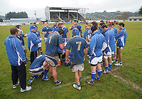 The Waitete team prepares for the second half during the King Country club rugby match between Waitete and Kiokio United at Waitete Rugby Club, Te Kuiti,  New Zealand on Saturday, 23 June 2012. Photo: Dave Lintott / lintottphoto.co.nz
