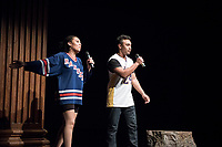 Apollo Night hosts Ashley Rivera '19 and Austin Wilson '19, the charismatic and welcoming hosts of Apollo Night.<br /> Occidental College students perform and compete during Apollo Night, one of Oxy's biggest talent showcases, on Feb. 24, 2017 in Thorne Hall. Sponsored by ASOC and hosted by the Black Student Alliance as part of Black History Month.<br /> (Photo by Marc Campos, Occidental College Photographer)