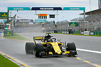 March 24, 2018: Nico Hulkenberg (DEU) #27 from the Renault Sport F1 team leaves pit lane during practice session three at the 2018 Australian Formula One Grand Prix at Albert Park, Melbourne, Australia. Photo Sydney Low