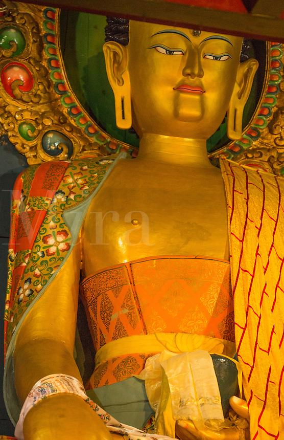Nepal Golden Buddha in the Thyangche Dongak Thakchok Chholing Monastery in Tengboche Solukhumbu